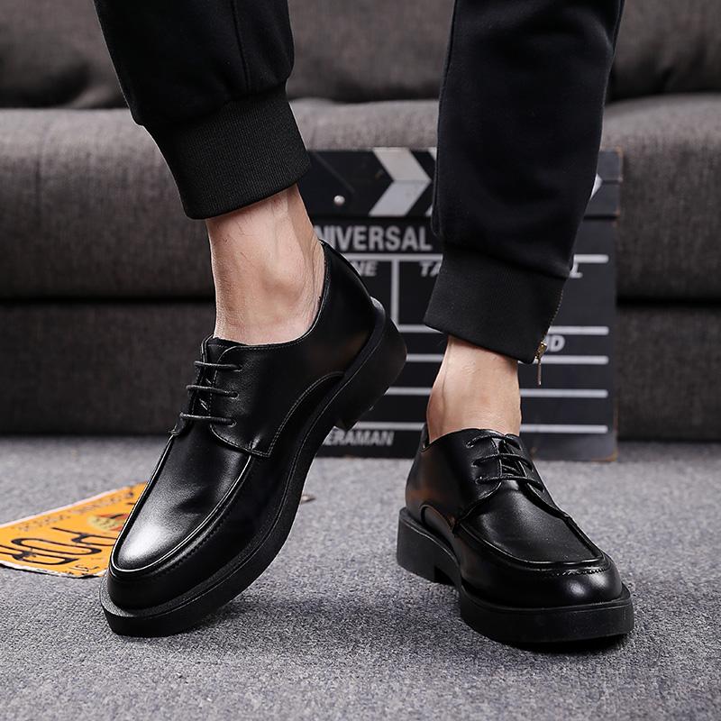 韩版男士皮鞋春季商务休闲皮鞋透气英伦圆头系带休闲鞋子男内增高