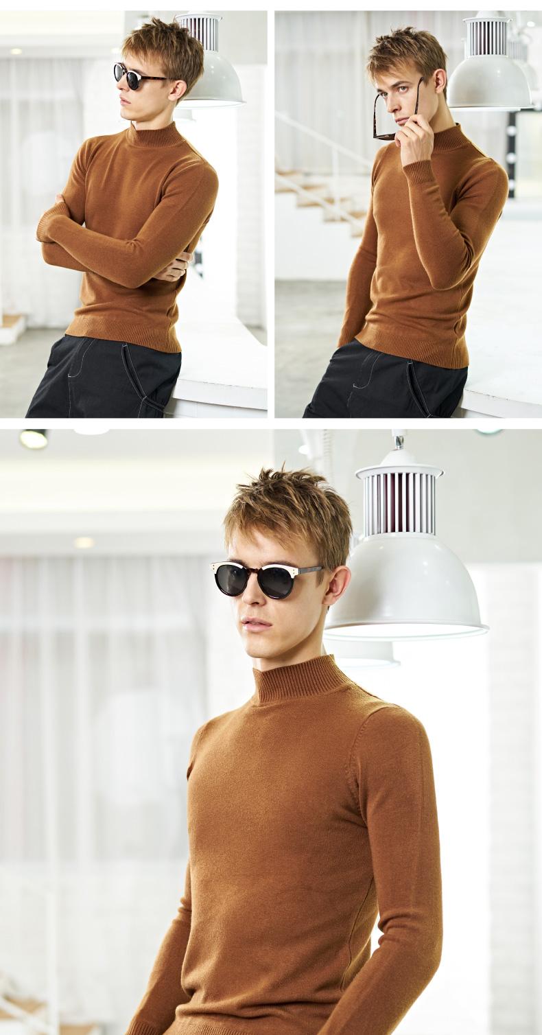 Mùa thu và mùa đông nửa cao cổ áo len nam Hàn Quốc phiên bản của thủy triều cộng với nhung dày áo sơ mi trong cổ áo len áo len áo len nam