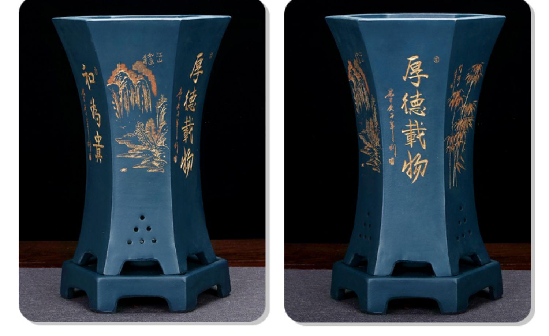 陶瓷兰花专用盆高檔六方室内带託盘復古家用吸水透气紫砂花盆清仓详细照片