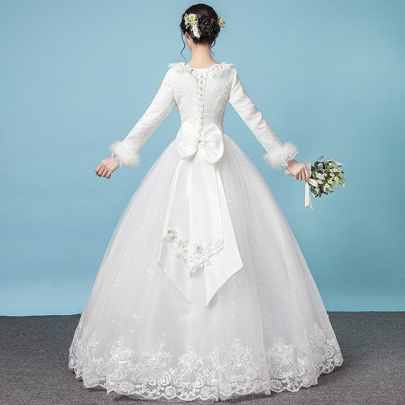 Winter wedding dress 2018 new bride wedding warm white long-sleeved ...