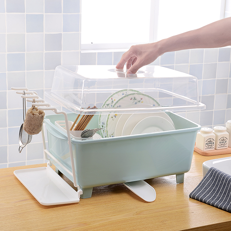 Drain Bowl Rack Kitchen Cupboard Plastic Lid Box Tableware Racks Storage Dishes Shelves