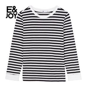 艾格E&joy2018冬季新款女简约圆领条纹套头短款卫衣8E0828156