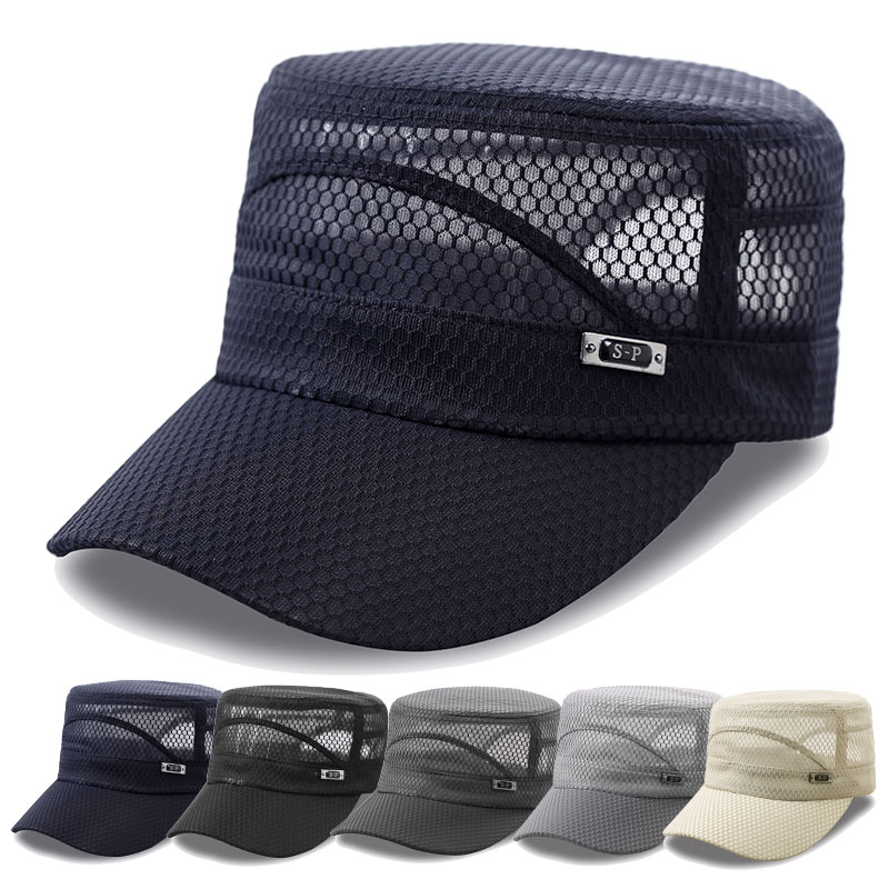 24e940caace Spring and summer outdoor fishing hat male sun visor sun hat female  breathable mesh flat cap military cap sports