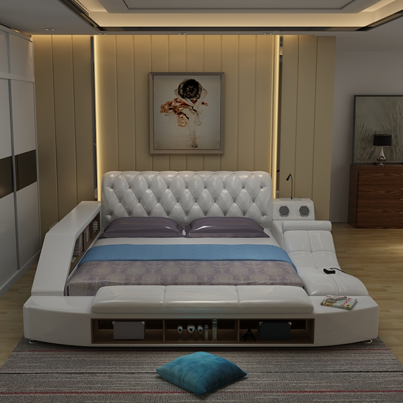Usd Tatami Bed Leather Bed Massage Smart Home Soft Bed Multifunction Wedding Bed Master