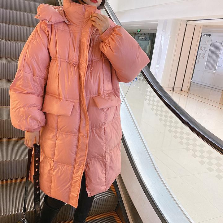 韩国代购粉色中长款羽绒服女2020早春新款洋气抽绳加厚连帽面包服