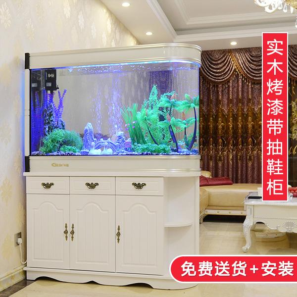 欧式子弹头鱼缸1米1.2米1.5米屏风鞋柜玻璃生态吧台客厅大水族箱