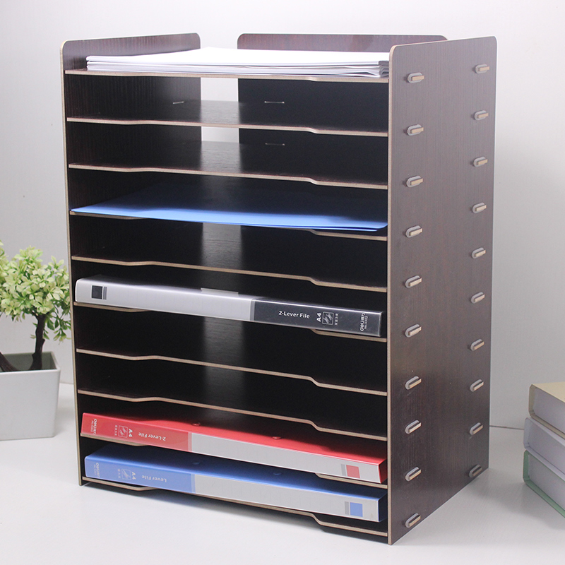 File Rack Wooden Creative Shelf Desktop Storage Multi Layer Data Office Supplies Student Bookshelf