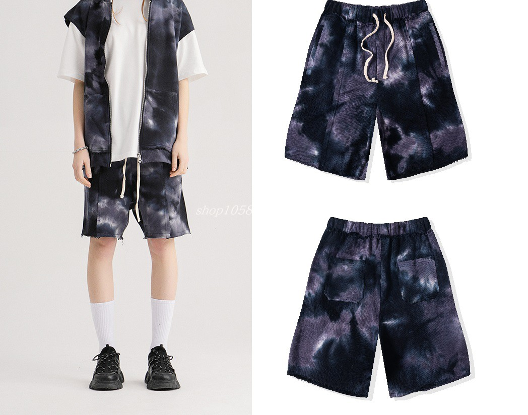 2020 summer retro tie dyed deconstructed Europe and the United States high street anti-car line dark trend men and women INS loose casual shorts