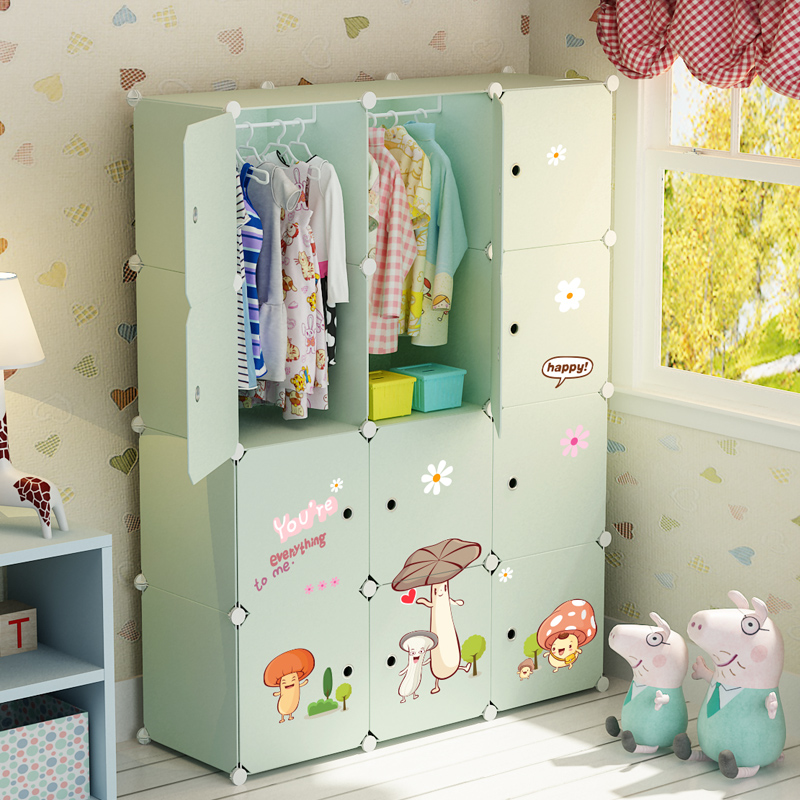 Silk simple childrenu0027s wardrobe plastic assembled baby storage cabinet girl baby cartoon combination storage small wardrobe & Silk simple childrenu0027s wardrobe plastic assembled baby storage ...