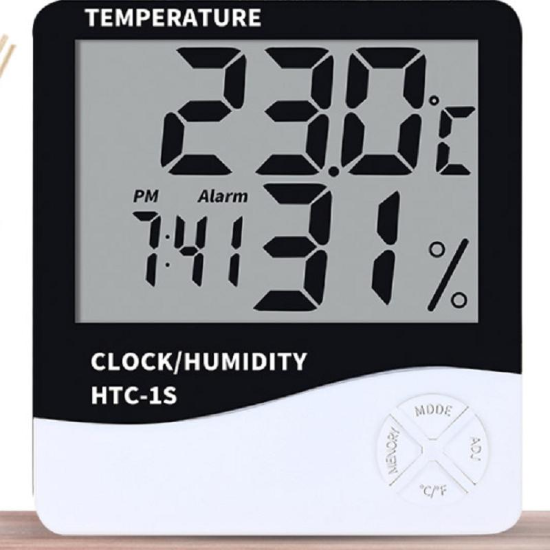 科迪博室内家用电子温湿度计儿童房高精准电子表带闹钟数显温度表