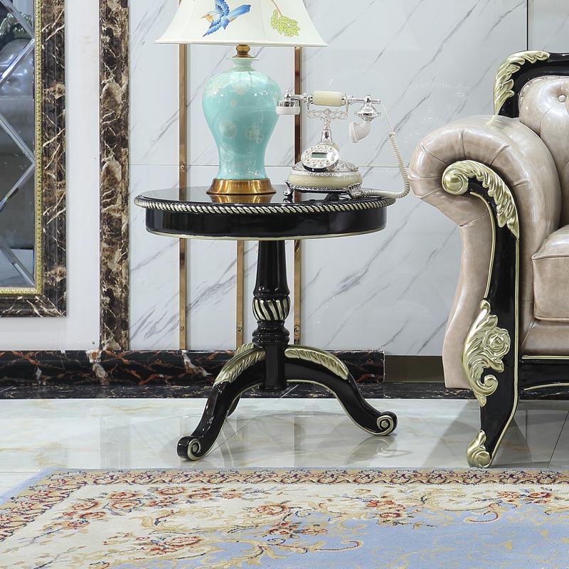 欧式小圆几新古典仿古客厅实木沙发茶几角几边几洽谈桌咖啡桌黑色