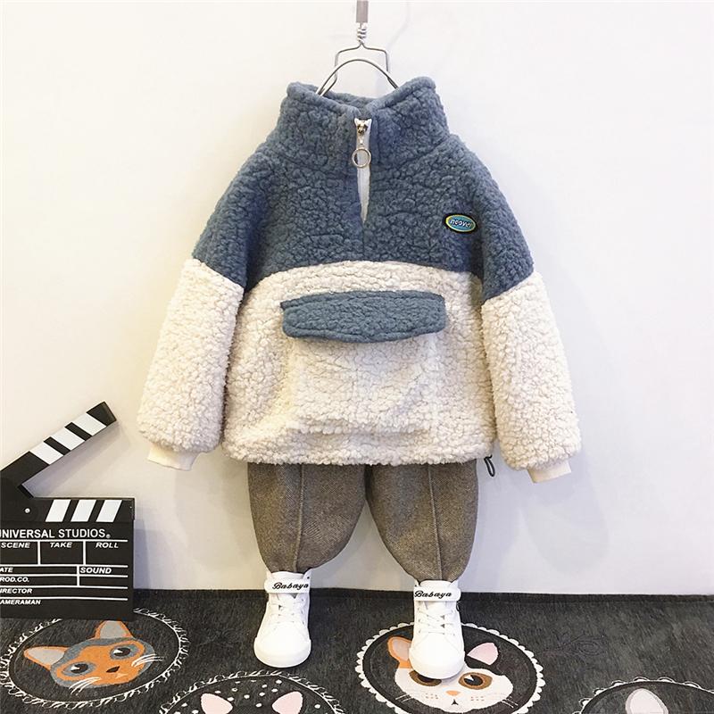 儿童上衣绒卫衣2019秋冬装新款羊羔洋气高领加厚a儿童绒衫套头男童