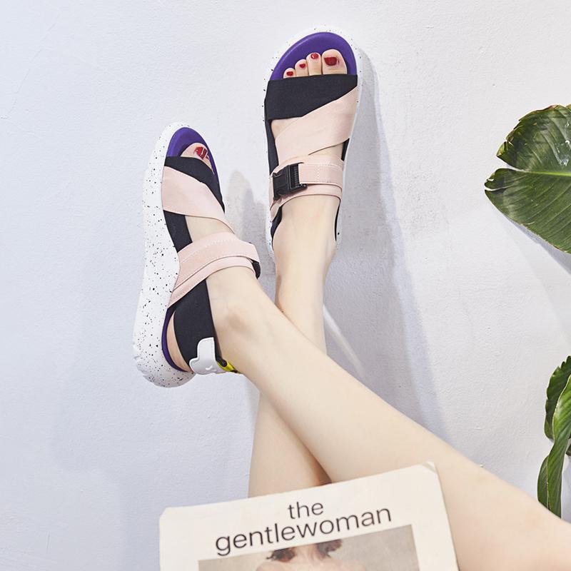 ... Босоножки 2018 новый летний удобные мягкое дно спортивные сандалии  женщин Сдобы с плоскими беременных женская обувь ... 7345f7792c3