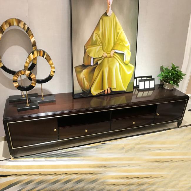 新古典電視柜組合 美式家具 香檳金后現代地柜 客廳定制視聽柜子