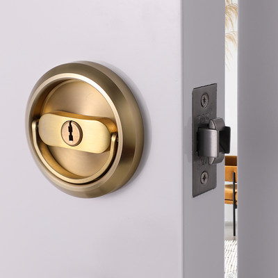304 invisible door lock double-sided pull ring locker room lock with key pull ring door lock disc handle lock