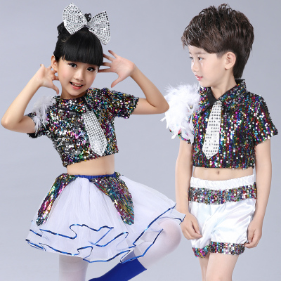 Kids rainbow colored modern dance costumes singers kindergarten chorus stage performance competition dancing dress