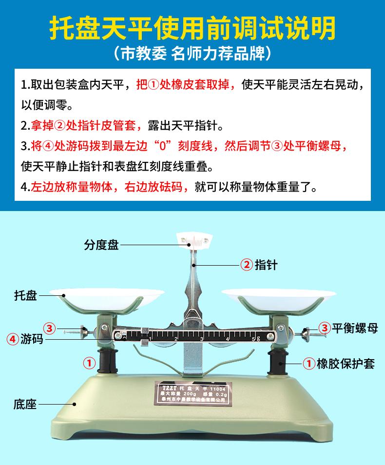 託盘天平称砝码小学生儿童家用物理实验室架盘高精度机械天平教具详细照片