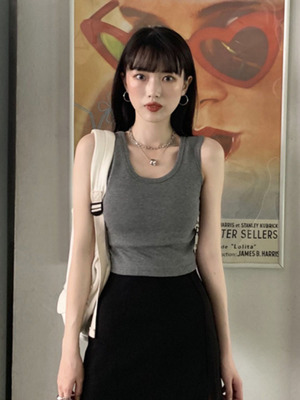 taobao agent Autumn short sleeveless bottoming shirt, black sexy small camisole, female tight-fitting T-shirt, top tide