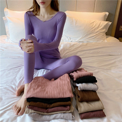 taobao agent 2021 new autumn clothes and long trousers ladies stretch thermal underwear suit body with two-piece clothes ins tide