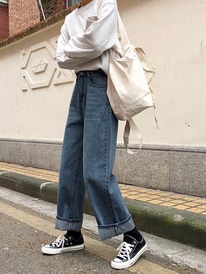 宽松阔腿牛仔裤女新款学生高腰显瘦长裤做旧拖地裤哈伦裤