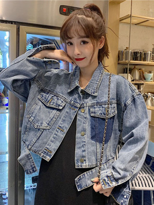 taobao agent Denim jacket women's short 2021 winter and autumn net red personality color matching pockets loose edges loose thin jacket jacket