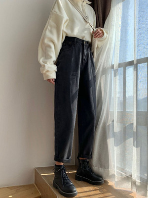 taobao agent Loose wide-leg high-waist jeans women's autumn 2021 new straight and thin Harlan daddy pants black pants