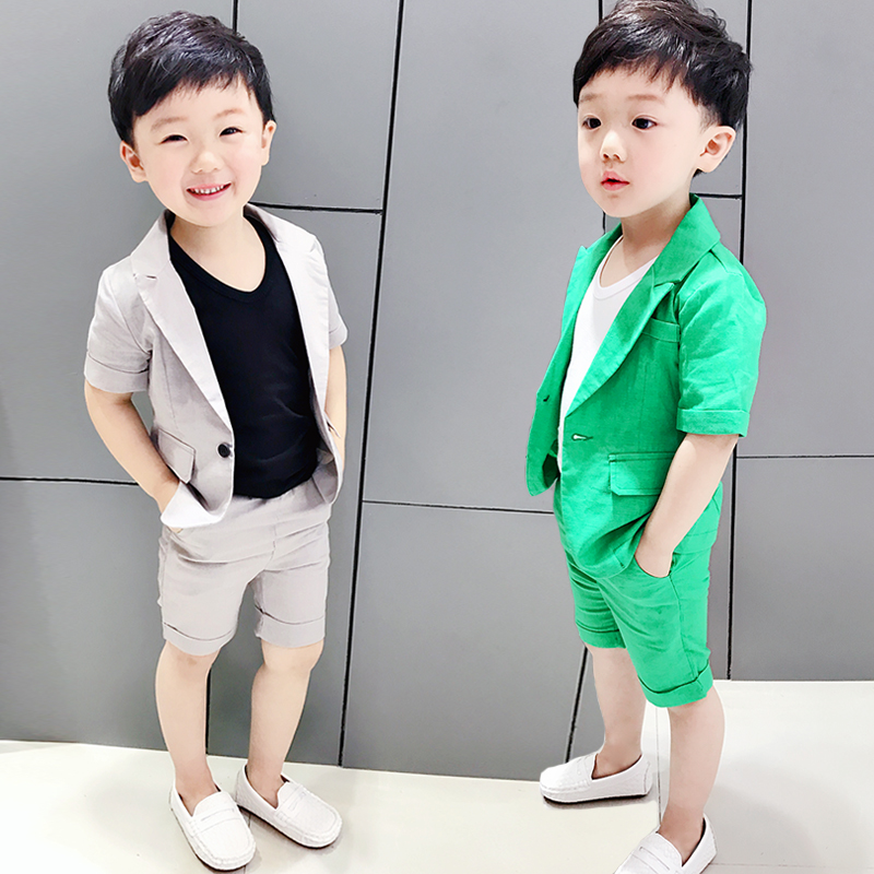 9ef557789 Children's small suit 3 Summer suit boy suit three-piece suit 2-year-old  boy dress costume baby short sleeve