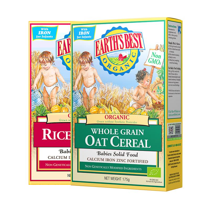 Earth's Best爱思贝地球 德国进口大米+燕麦有机高铁米粉米糊辅食