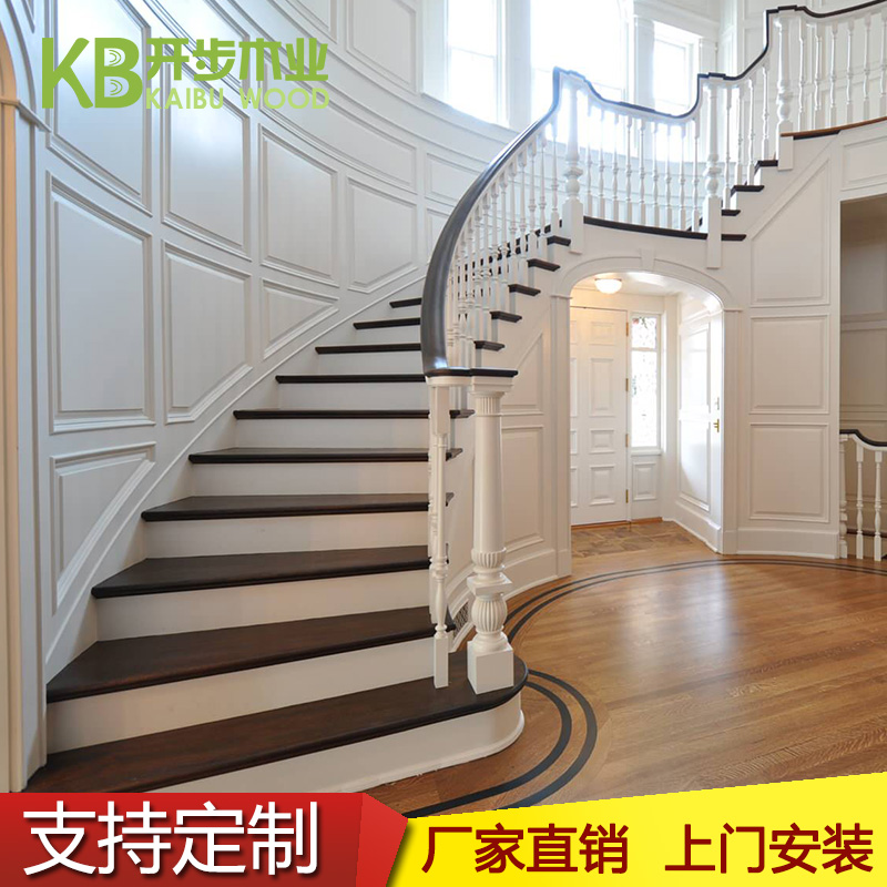 Promotional Steel Wooden Stairs Wood Stairs Spiral Staircase Duplex  Penthouse Loft Villa Stair Handrails