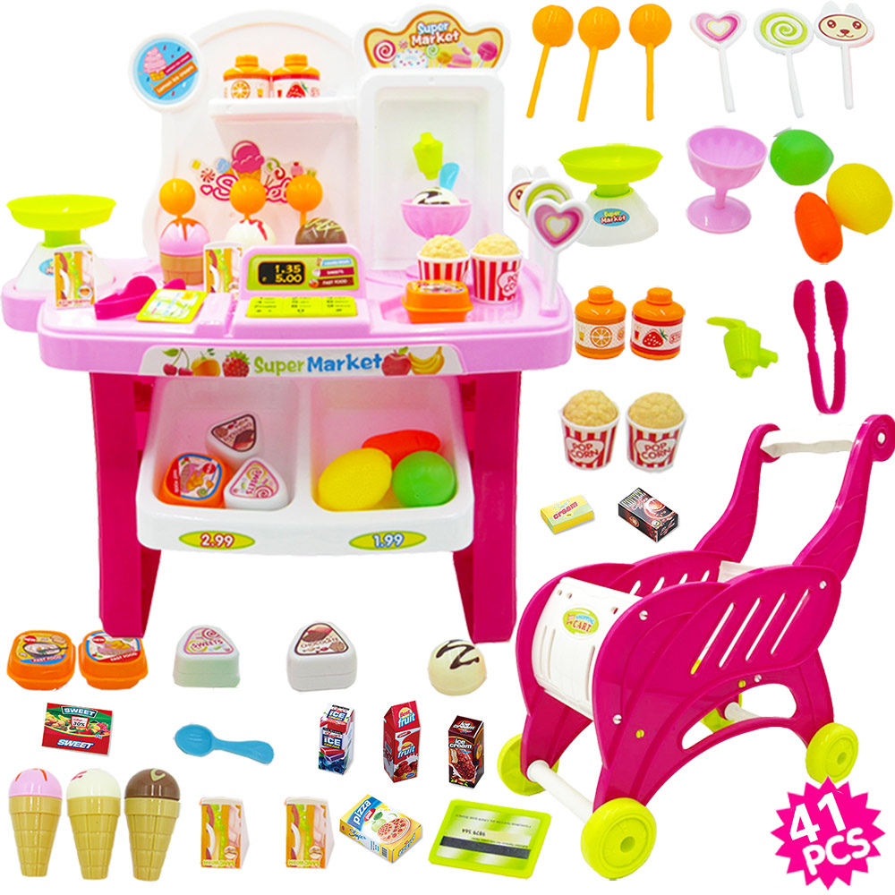 POWDER CANDY SUPERMARKET + MINI SHOPPING CART  (SEND BATTERY +5 FRUITS AND VEGETABLES