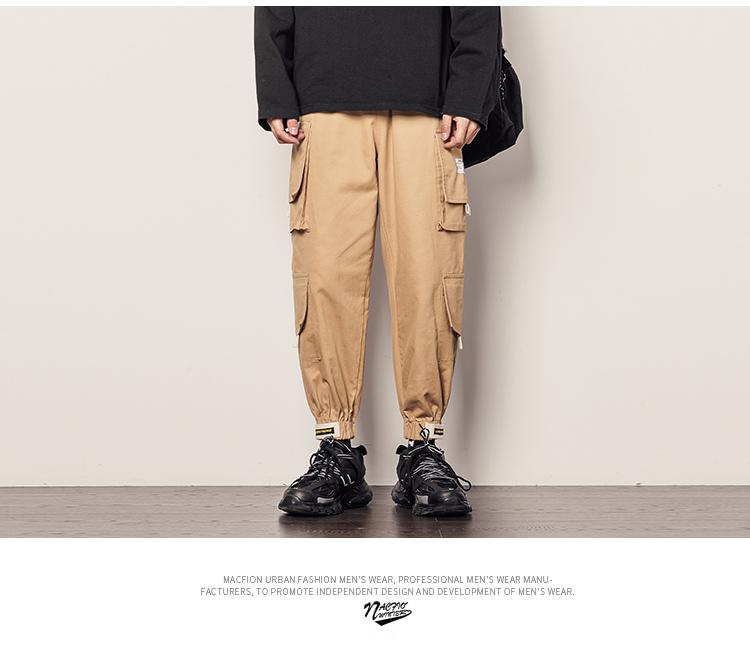 港风大码宽松多口袋哈伦裤束脚裤长裤工装裤钱鎕3006-K861-P65