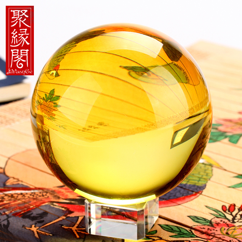 Poly Edge Pavilion Feng Shui Synthetic Yellow Crystal Ball Ornaments Lucky Home Decorations