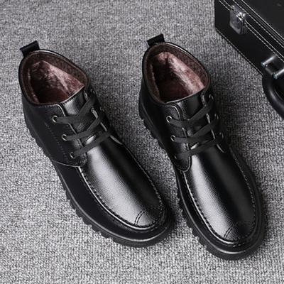 新款男士棉鞋冬季保暖皮鞋男加绒休闲男皮棉鞋软底防滑男毛皮鞋子