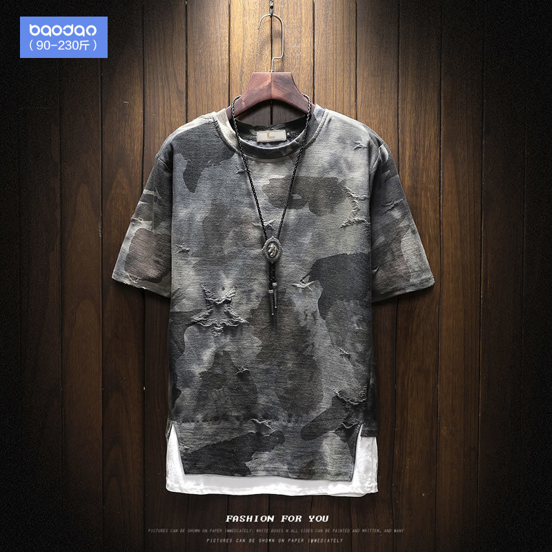 Summer loose camouflage plus fertilizer to increase the size of the trend of compassionate hip-hop tide fat half-sleeved Tide brand short-sleeved T-shirt men