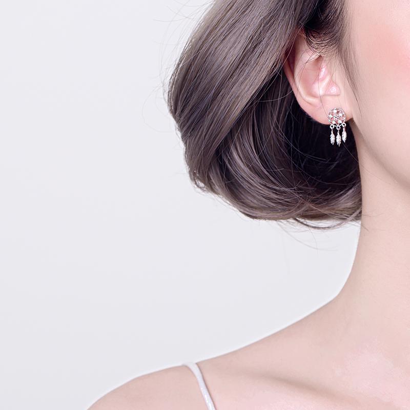 捕梦网耳钉女简约超仙气质精致流苏耳坠韩国个性短款925纯银耳环