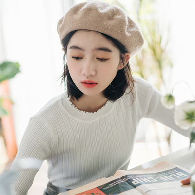 Autumn and winter new lace round neck sweater women's hedging women's Slim long-sleeved students solid color knit sweater wild