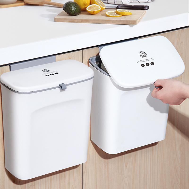 厨房垃圾桶橱柜门悬挂式蔬菜果皮分类垃圾篓家用卫生间壁挂垃圾筒