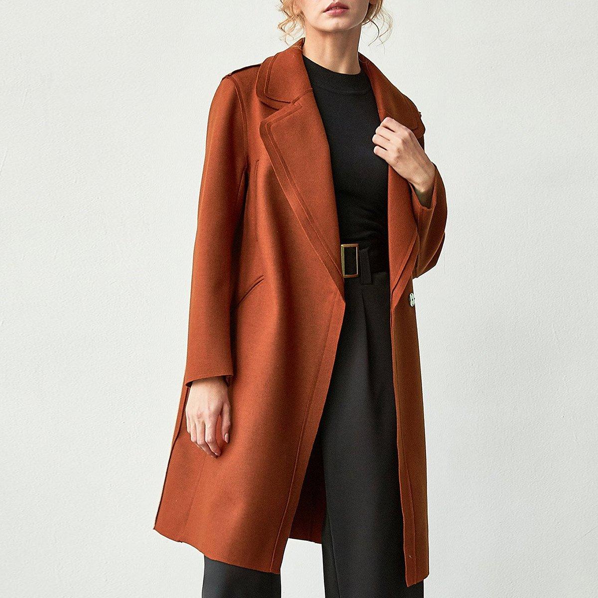Mùa đông sản phẩm mới của phụ nữ màu rắn ve áo che giấu nút áo len dài giữa - Trung bình và dài Coat