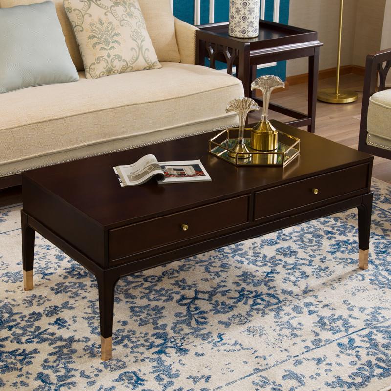 美式鄉村全實木茶幾輕奢簡約環保長方形客廳后現代小戶型儲物茶桌