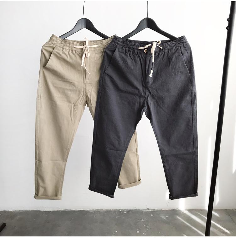 Mùa hè mới của Nhật Bản màu rắn bông và vải lanh dây rút thở Harlan feet quần vi-xu hướng dòng chảy người đàn ông giản dị của quần