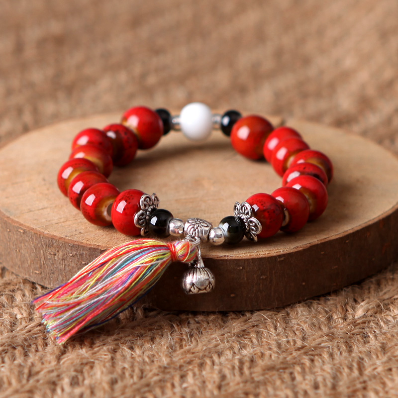 QingGe ceramic beads bracelet female contracted student couples with national wind 's girlfriends to restore ancient ways small stalls supply of goods