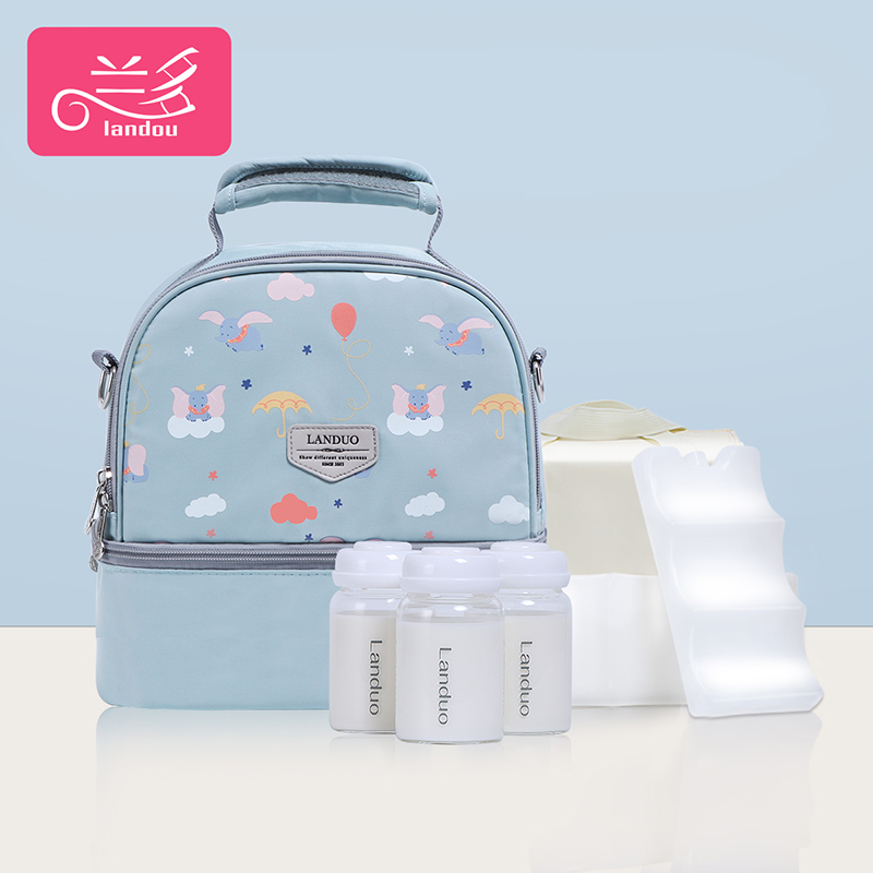 Lake Blue Elephant [single Bag + Liner Bag + 2 Pieces Of Blue Ice + 3 Glass Milk Cans]