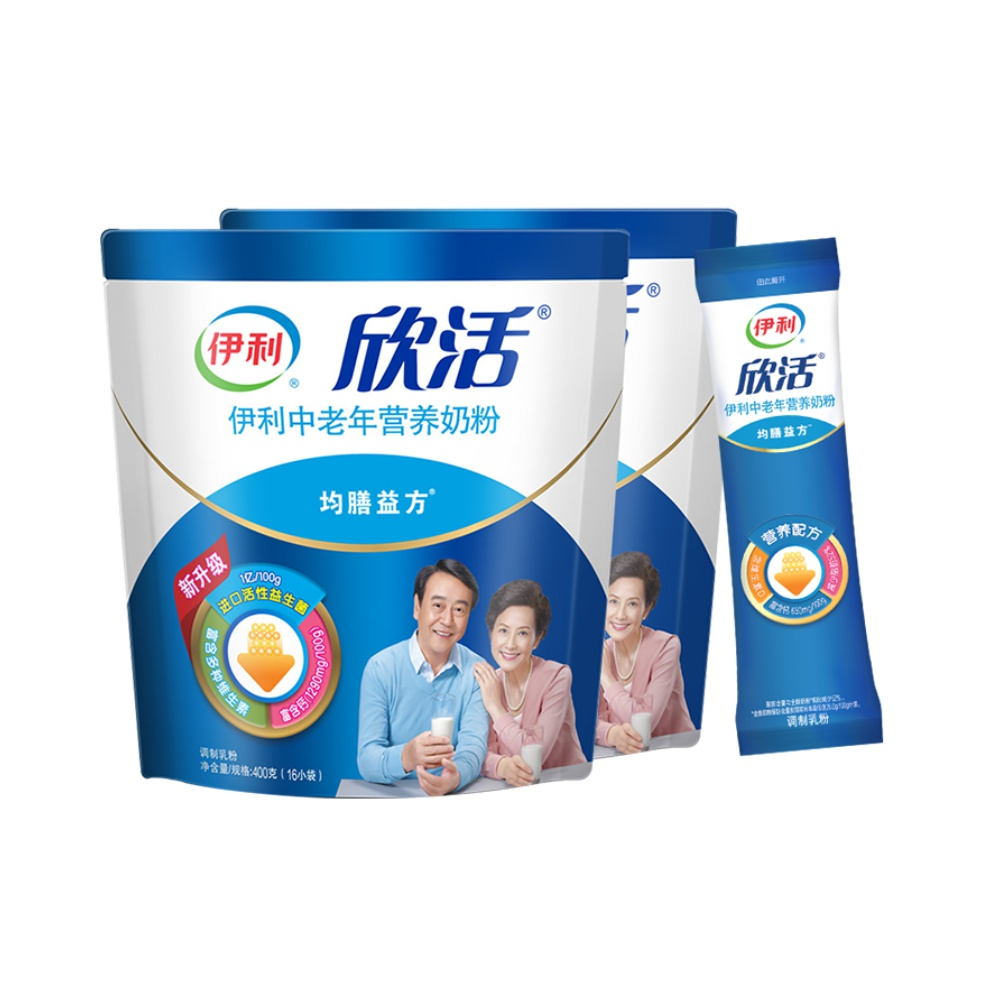 伊利欣活中老年成人营养奶粉400g*2袋装小条装成年益生菌补钙奶粉