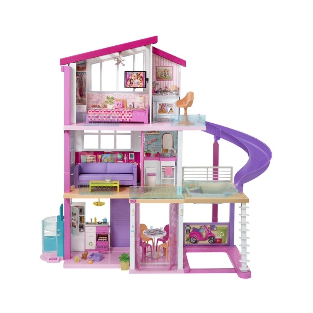 【限量送娃娃】芭比娃娃Barbie梦想豪宅别墅礼物女孩公主玩具1套