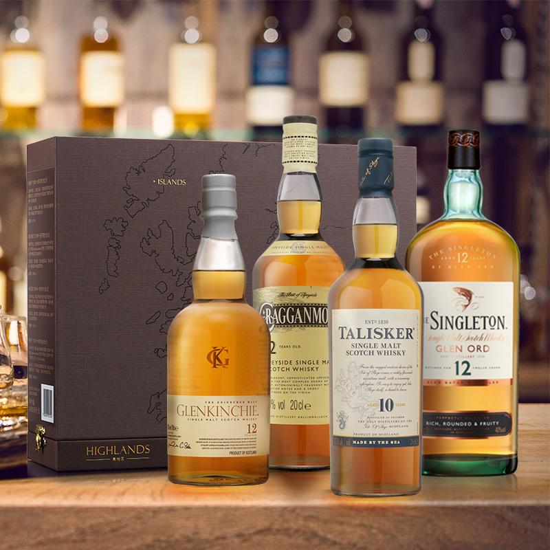 DIAGEO 帝亚吉欧 单一麦芽苏格兰威士忌礼盒装 200ml*4瓶 聚划算双重优惠折后¥435包邮 返¥2猫超卡 88VIP会员还可95折
