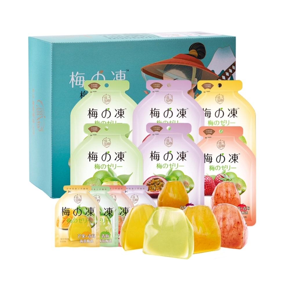 溜溜梅国风蒟蒻梅冻120g*6袋盒装0防腐剂0人工色素果冻布丁零食