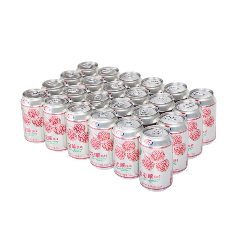宏宝莱碳酸饮料荔枝味汽水330ml*24罐东北特产新老包装随机发货