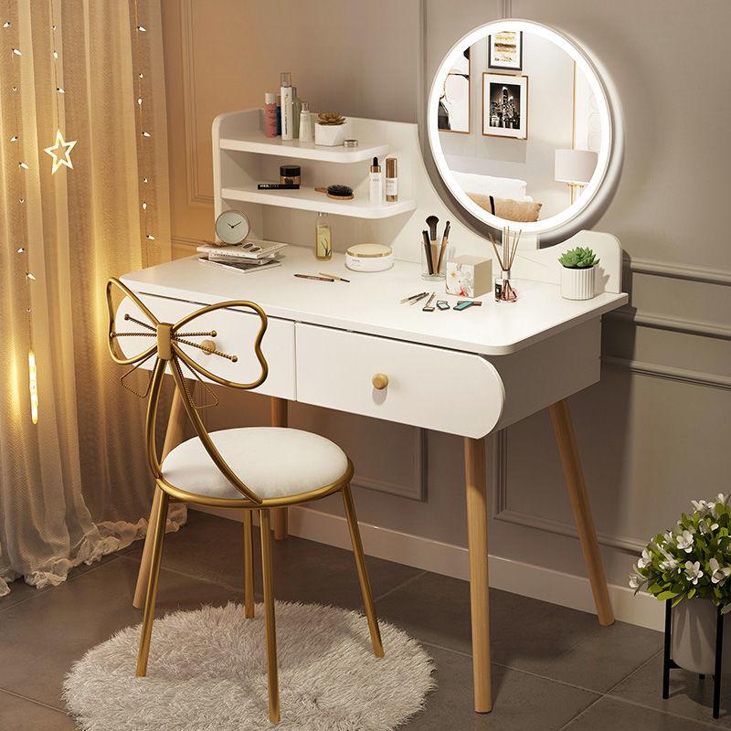 梳妆台卧室少女房间小户型北欧ins风化妆桌子带灯简约现代经济型