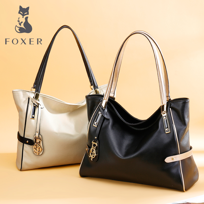 Kim Fox of the new leather female bag portable single shoulder bag head layer cowhide fashion hit color large-capacity tote bag