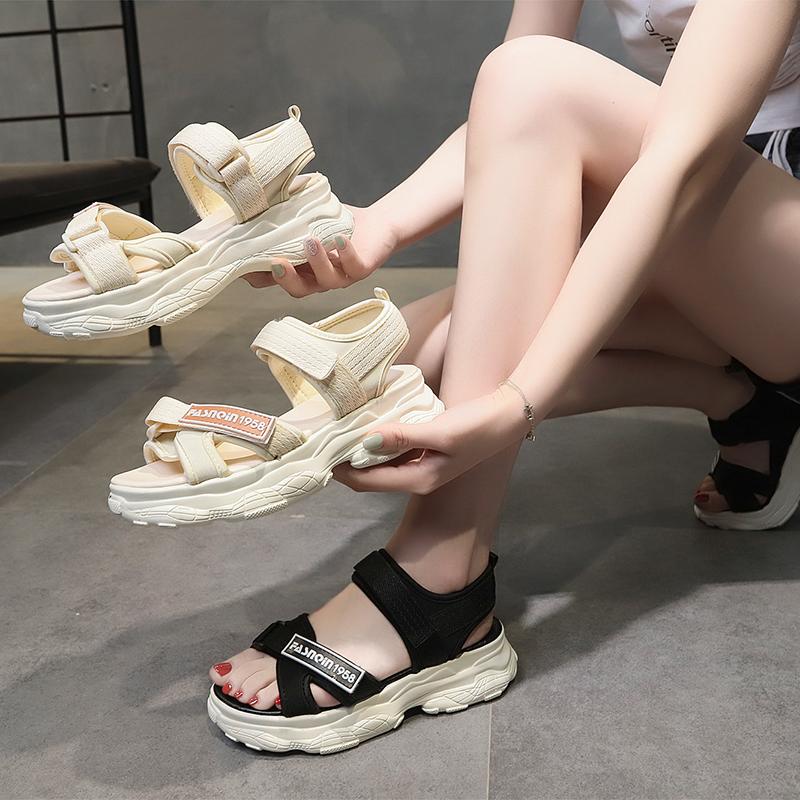 运动老爹凉鞋女ins潮2021年夏季新款百搭厚底魔术贴软底轻便凉鞋(厚底魔术贴运动凉鞋女)